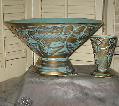 "SCARCE Large 10"" STANGL ANTIQUE GOLD COMPOTE & VASE Turquoise Blue Leaf Motif"