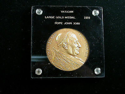 Vatican Pope John XXIII Very Large Gold Medal 1959  in holder