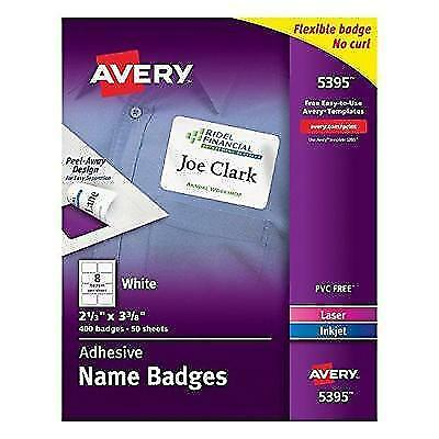 Avery Adhesive Name Badges, 2.33 x 3.38 Inches, White, Box of 400 (05395) New