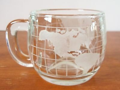 Vintage Nestle World Globe Frosted Etched Glass Coffee Cup Mug