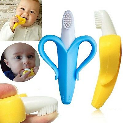 Infants Baby Toddler Kid Soft Safe Toy Teether Banana Teething Toothbrush Toy