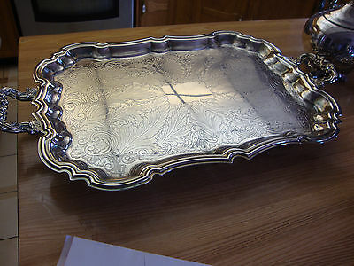 Antique Large Leonard Footed Silverplate Serving Tray