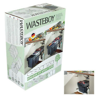 Wasteboy Kitchen Pull Out Waste Bin 2x16 Litres for minimum 400mm Base Cabinet