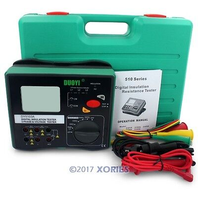 DY5103 Insulation Resistance Tester Phase Sequence Tester Meter 1000-5000V
