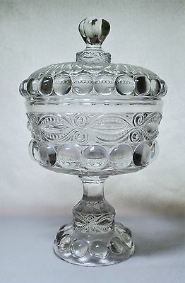 L. G. Wright EYEWINKER Genoese Large Crystal / Clear COVERED COMPOTE Great Shape
