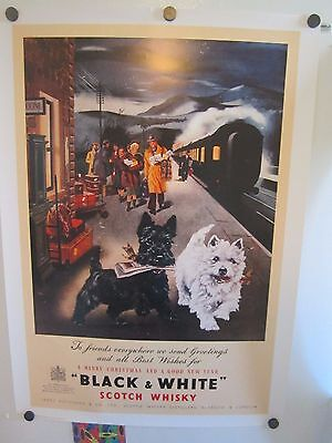 Black and White Scotch whisky advertising poster Scotty Westie terrier train