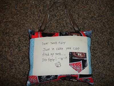 Cars Blue Black Red Cute Tooth Fairy Pillow New Handmade Toothfairy Boy Door