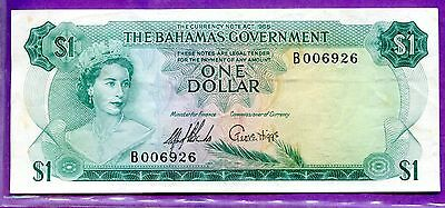 1965 Bahamas One Dollar Note VF P-18a