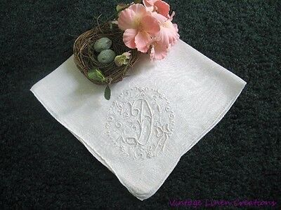 AnTiQuE Wedding ROMANTIC MONOGRAM D Vintage EMBROIDERED BRIDAL HANKY Hand Rolled