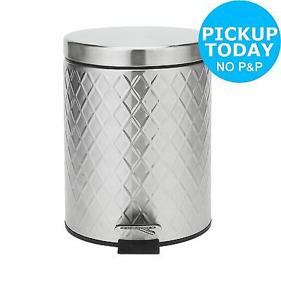 HOME 5 Litre Bathroom Pedal Bin - Stainless Steel -From the Argos Shop on ebay