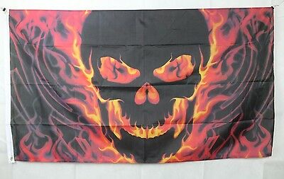 Big 1.5 Metre Skull With Fire Large New Flag 3x5ft Motorcycle Motorbike Biker