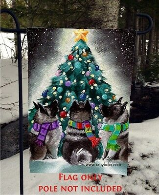 Norwegian Elkhound CHRISTMAS TOGETHER 12 By 18 Garden flag no pole By Amy Bolin