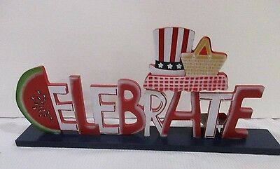 Patriotic 4th Of July CELEBRATE Watermelon Sign Decorations Decor