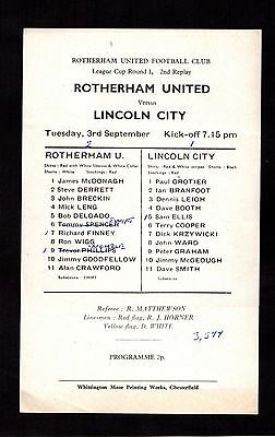 1974-1975 Rotherham United v Lincoln City League Cup 2nd Replay