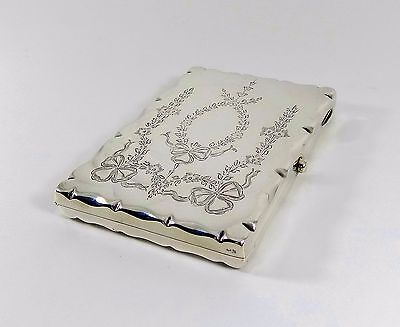 Antique Edwardian Solid Silver Card Case, Leather Inside, Deakin & Francis 1908