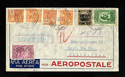 15161-BRAZIL-AIRMAIL AEROPOSTALE COVER RIO to BERLIN (germany)1933.WWII.Brasil