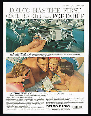 1958 Pontiac Oldsmobile Portable Car Delco Radio Vintage Color Photo Print Ad