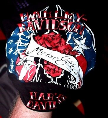 Harley-Davidson Patriotic Black Head wrap new with tags Roses stars motor cycles