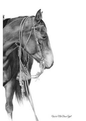 """We're Not Done Yet?"" 5X7 MiniPrint~ROBYN COOK PENCIL ART~Horse Drawing~"