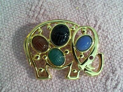 "New From Qvc 1 1/2"" Long Elephant Pin Gold Tone With Carved Stones Of Color"