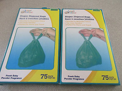 NEW~2 Boxes  Baby Diaper Disposable Bags Sacks Tie Close Handles -Scented- ~150~