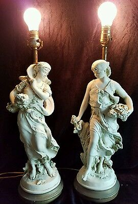 Vintage 1961 Pieri Chalkware Art Nouveau Style Ladies Table Lamps Pair