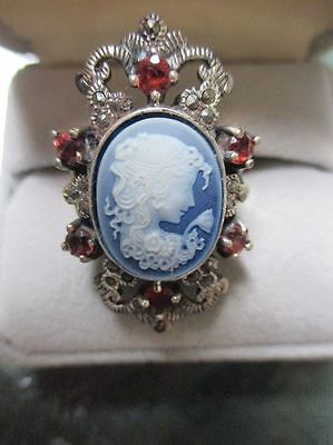 VINTAGE ESTATE Sterling BLUE CAMEO GARNET RED RHINESTONE MARCASITE RING SIZE 8