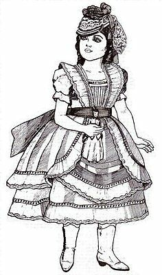 "UNCUT PATTERN Party Dress 13 14"" Doll Period  victorian french German"