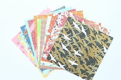 Folk Art Chiyogami Origami Craft Paper - 14 sheets, 14 patterns - 15cm Square