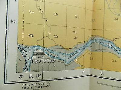 Antique 1902 Map Idaho Lewiston Moscow Genesee Spalding  Approx 27 X 17