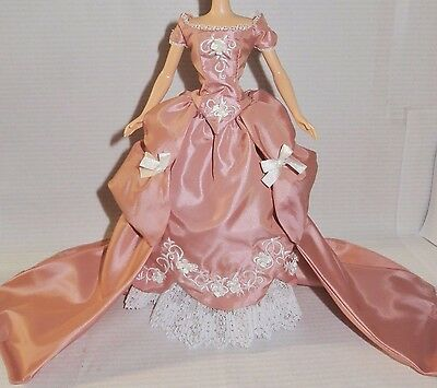 Dress Only ~ Silkstone Barbie Doll Wedgewood England Satin Embroidered Gown