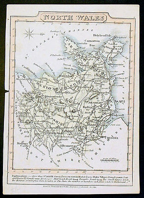 1810 John Wallis Antique Map of North Wales