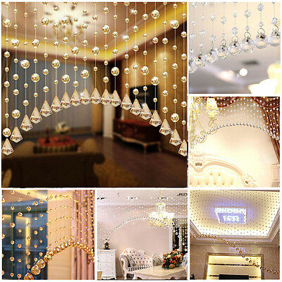Acrylic String Curtain Room Divider Crystal Beads Door Window Panel Wedding