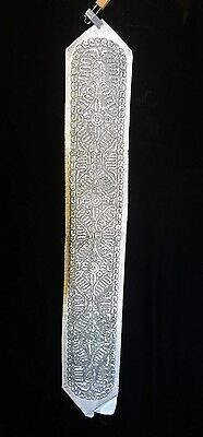 "Used Old Silver Atarah For Tallit Prayer Shawl 38""x5-1/2"" 97X14 Cm#1185"