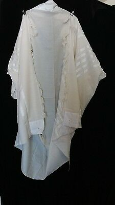 Used Kosher Tallit Prayer Shawl 100% Wool Size 70 78X60 Inch 198X152 Cm #1191