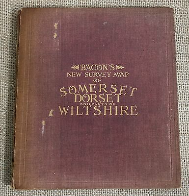 Antique Map - Bacon's New Survey Map of the Counties of Somerset, Dorset & Wilts