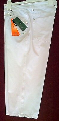 Ladies Golf Crop Trousers By Green Lamb Golf-White-Size 20- Now £27.50-1/2 Price