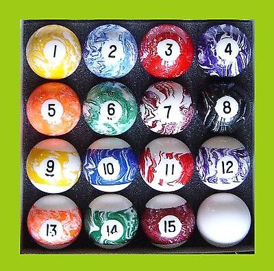 "MARBLEIZED Numbered 1 to 15 - 2"" Pool Balls rrp  $139-   amazing value for $$$"