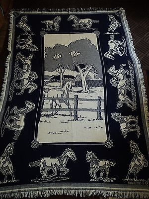Horses.stallions.fillys.blue And White.woven  Afghan/throw.fence.1991-11