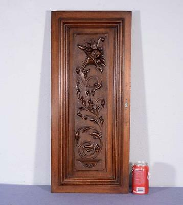 *French Antique Louis XVI Architectural Panel Door Solid Walnut Wood w/Flowers 1