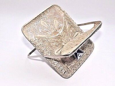 RARE UNUSUAL LID ANTIQUE VICTORIAN SOLID SILVER FILIGREE CIGARETTE CASE c1890