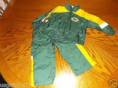 Green Bay Packers Nfl Wind Suit Stretch Waist Zip Jacket Size 2T Nylon So Nice