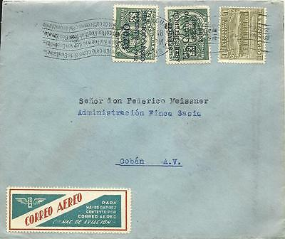 Guatemala 1933, Air Mail cover to Coban with CNA Correo Aereo label