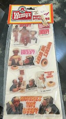 Vintage Wendy's Where's The Beef Puffy Stickers NOS