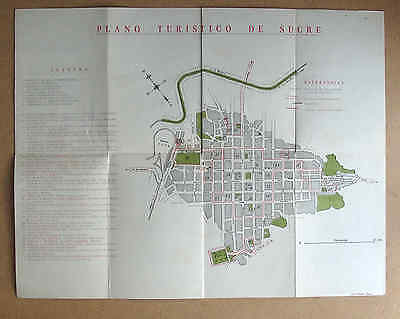 SUCRE BOLIVIA 1950s? MAP Plano Turistico de la Capital colour very good cond