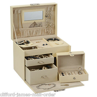 Cream Lockable Jewellery Box Compartments & Drawers Mirror Four Necklace Hooks