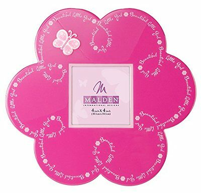 Picture Frame Pink Flower Baby Girls Wood Butterfly Bedroom Square Decor 4x4