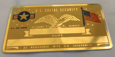 U.S. Air Force US Social Security Metal Card Tag NOS VTG Perma Products