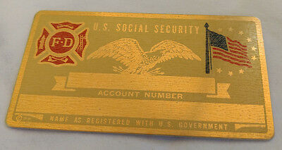 Fire Dept Fire Fighter US Social Security Metal Card Tag NOS VTG Perma Products