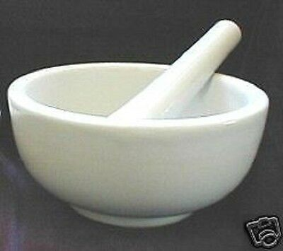 Brand New White Porcelain Mortar And Pestle,  Ships Fast From Usa Seller!!
